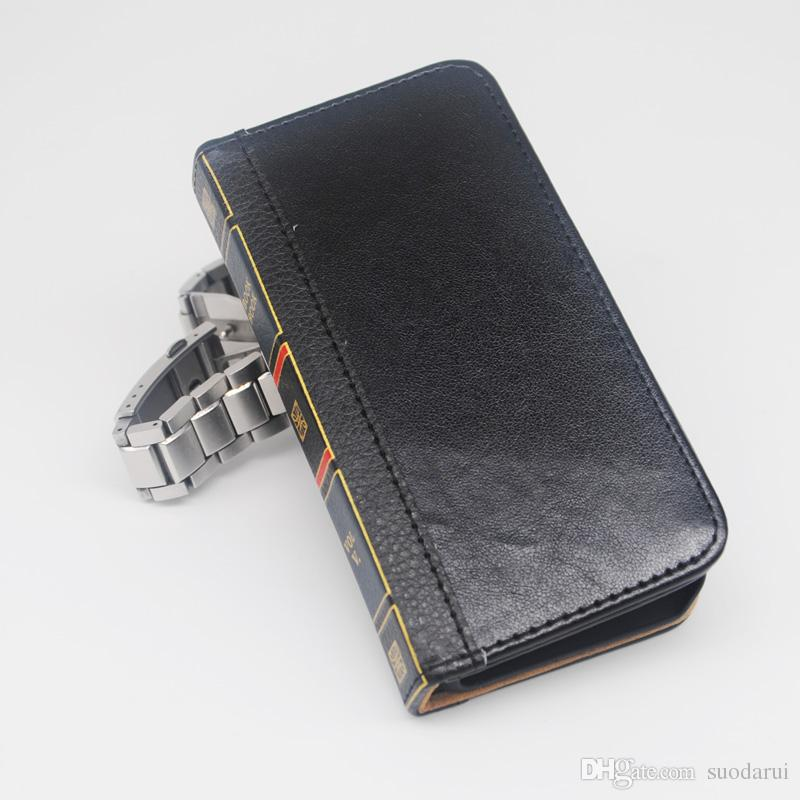Flip Leather cell Phone Case for iphone 5s Cover Wallet Retro Bible Vintage Book Business Pouch