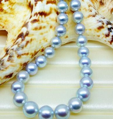 S925 all'ingrosso 10-11mm collana in argento a sud del mare naturale grigio perla 18inch