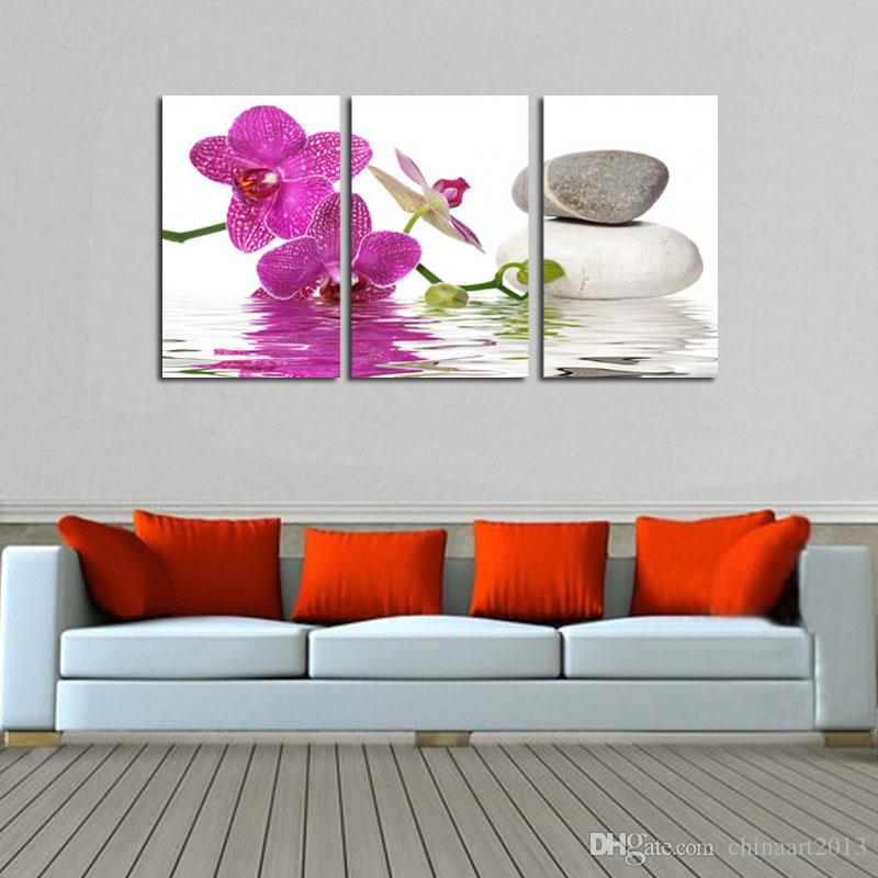 HD печатный живопись на холсте орхидея камень пейзаж масляной живописи современные популярные стены искусства фотографии украшения дома 16x24inchx3Pcs