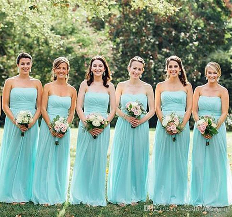Real Photos Green Beach Color Bridesmaid Dresses Chiffon Fabric Strapless Backless Bridesmaid Dress Floor Length A Line Gowns For Wedding Knee Length