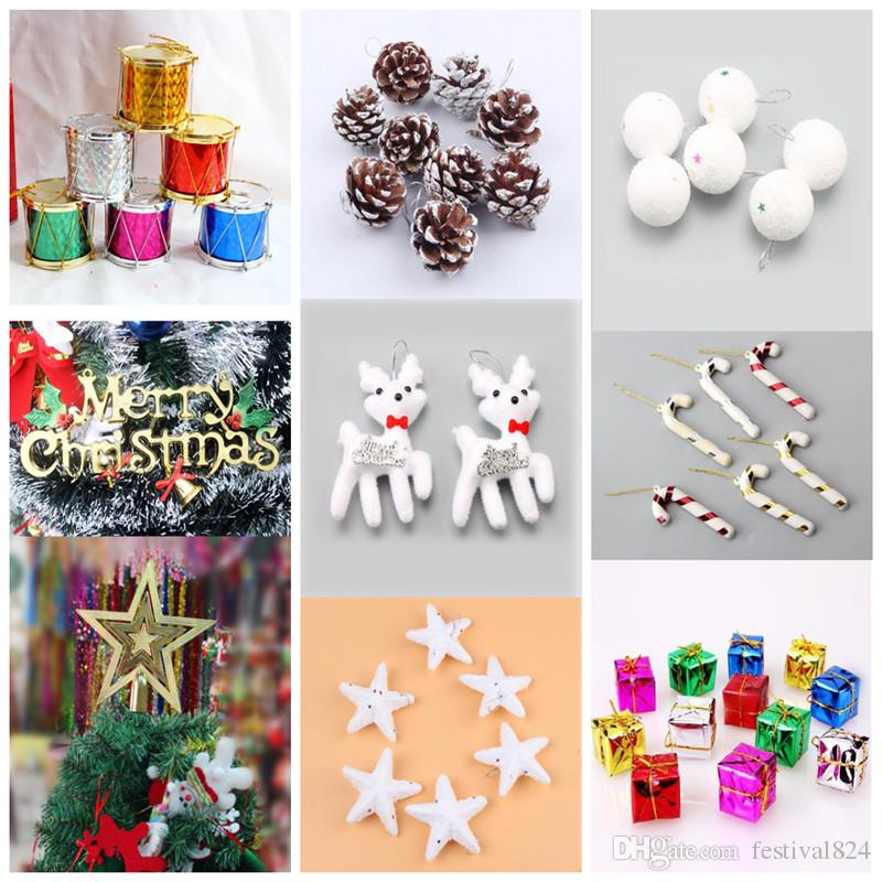 Christmas Drum Decor.10 Styles Christmas Tree Decorations Pine Nuts Balls Bells Crutch Drum Gift Box Xmas Trees Ornaments Wedding Parties Mini Tree Decor Props Sale