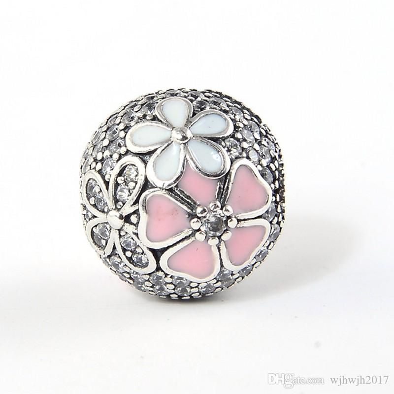 Poetic Blooms Fixed Clip Charms Beads 925 Sterling Silver Flower Stopper Lock Bead Fit DIY Brand Bracelets Jewelry Making Accessories