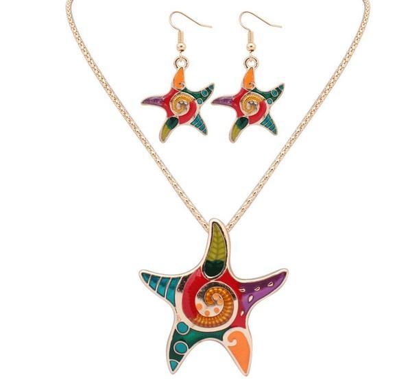 Colares de estrela do mar chique brinco conjuntos de ouro prata chapeado cadeia esmalte estrela estrela estrela do mar colares Colares colares Brincos Define conjuntos de jóias