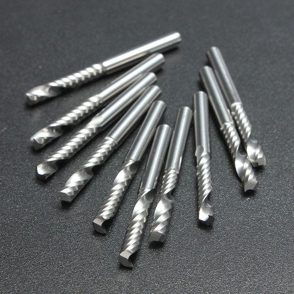 10 pçs / lote 1/8 de Alta Qualidade Cnc Bits Único Flauta Espiral Router Carboneto De Fresa Fresa Ferramentas 3.175x22mm (1Lx3.22x5)