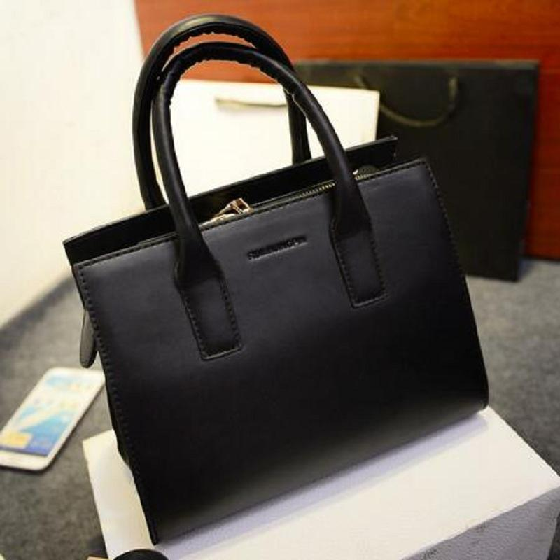 Wholesale- American Style Women Bag Leather Handbags Women Cheap Briefcases Clear Ladies Work Hand Bags Tote