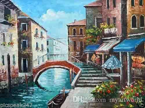 Hermosa ciudad italiana de Venecia nueva ciudad venic VIEWS, pintado a mano / grabado HD de alta calidad Arte abstracto Pintura al óleo sobre lienzo.