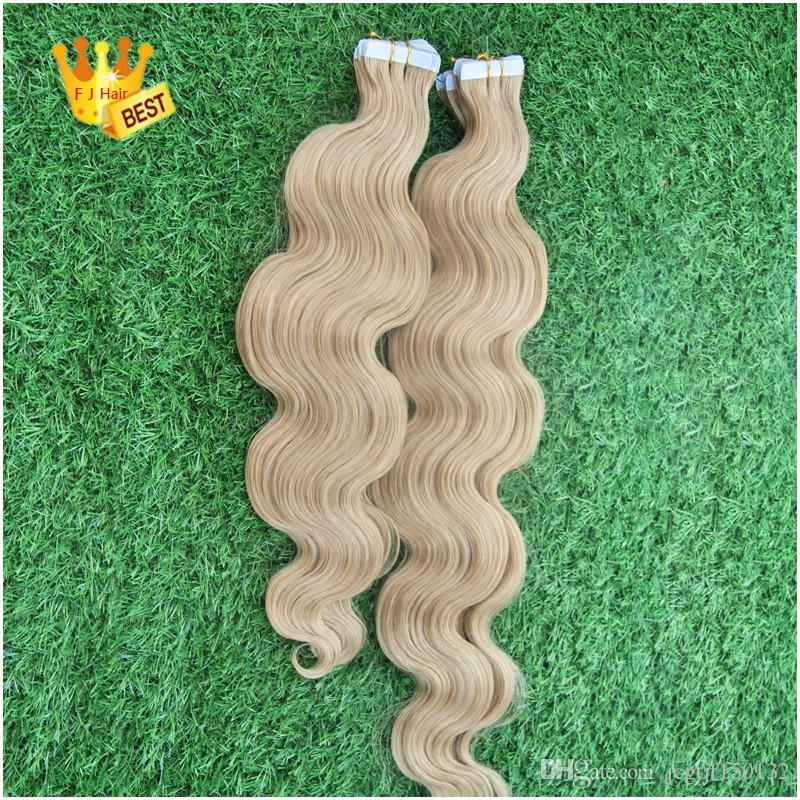 Virgin Brazilian Use of human hair Body Wave 613 Bleach Blonde Tape In Hair Extensions Human 40 Piece PU Skin Weft Hair Extension