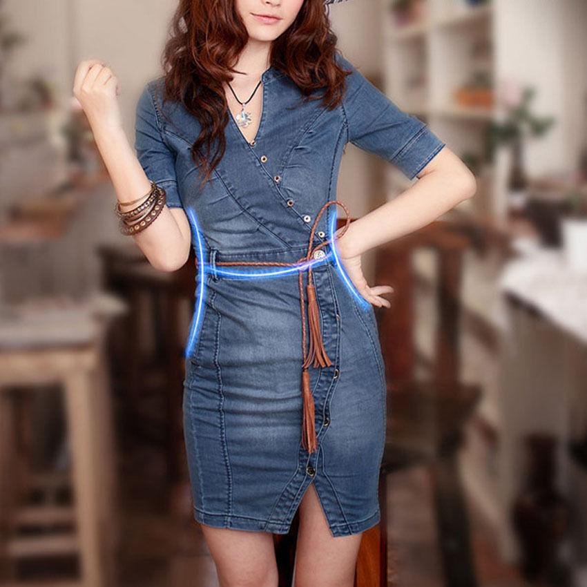 Women/'s Cap Sleeve Denim Jeans Mini Dress Belt S//M//L//XL