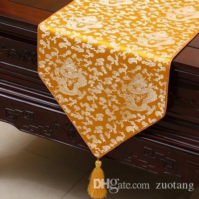Удлинение китайского этнического дракона-стола Runner Runner роскошные высококачественные шелковые пакады журнальный столик ткань столовая столовая столовая защитные подушки 230x33 см
