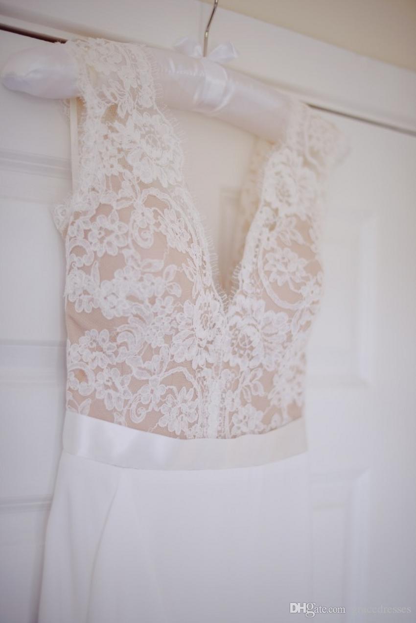 Champagne And White Wedding Dress Sheath Plunging V Neck Empire ...