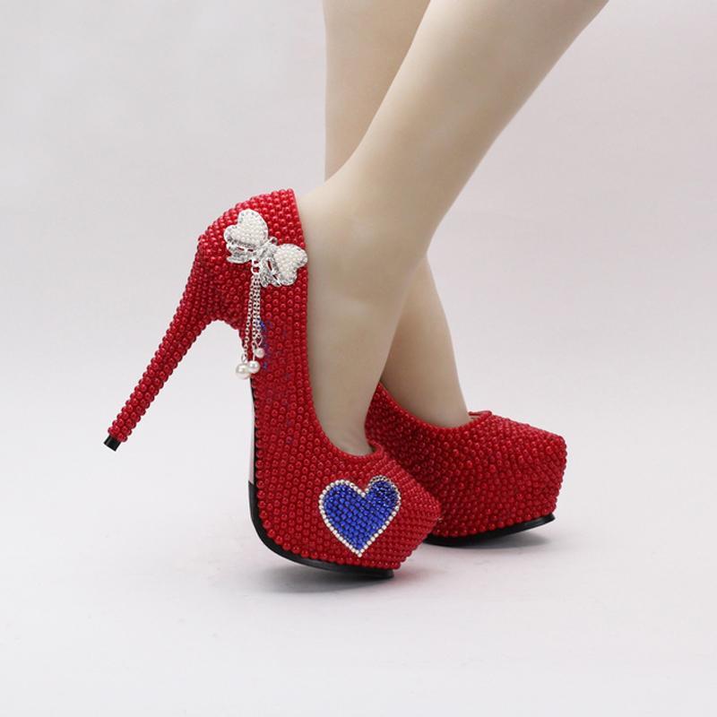 여자 레드 진주 웨딩 신부 신발 하이힐 Stilettos 펌프 웨딩 볼 클럽 신발 저녁 파티 하이힐