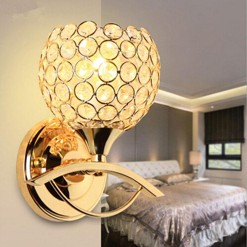 2019 Lampada da parete comodino stile moderno AC85-265v Camera da letto Illuminazione scale Lampade da parete in cristallo E27 Lampadina a LED Lampada a led argento / oro per arredamento camera da letto