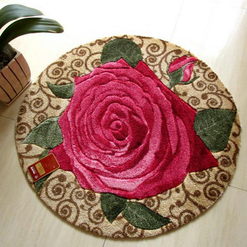 Round Rug Red Rose Shaggy Carpet For Bedroom Mats Carpets For