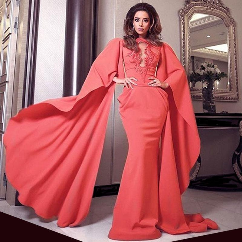 Melão de Água Alta Pescoço Árabe Dubai Oriente Médio Mangas Compridas Bordado Sereia Vestido de Noite Vestido De Festa Longo Senhora Vestidos de Baile