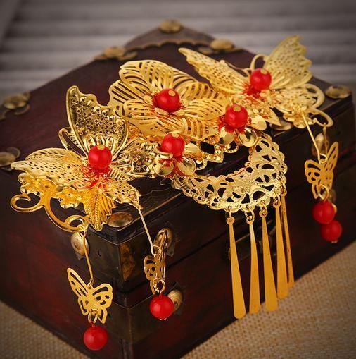 Atacado Vermelho cocar noiva antigo traje pente acessórios para o cabelo borla casamento Chinês GZ05