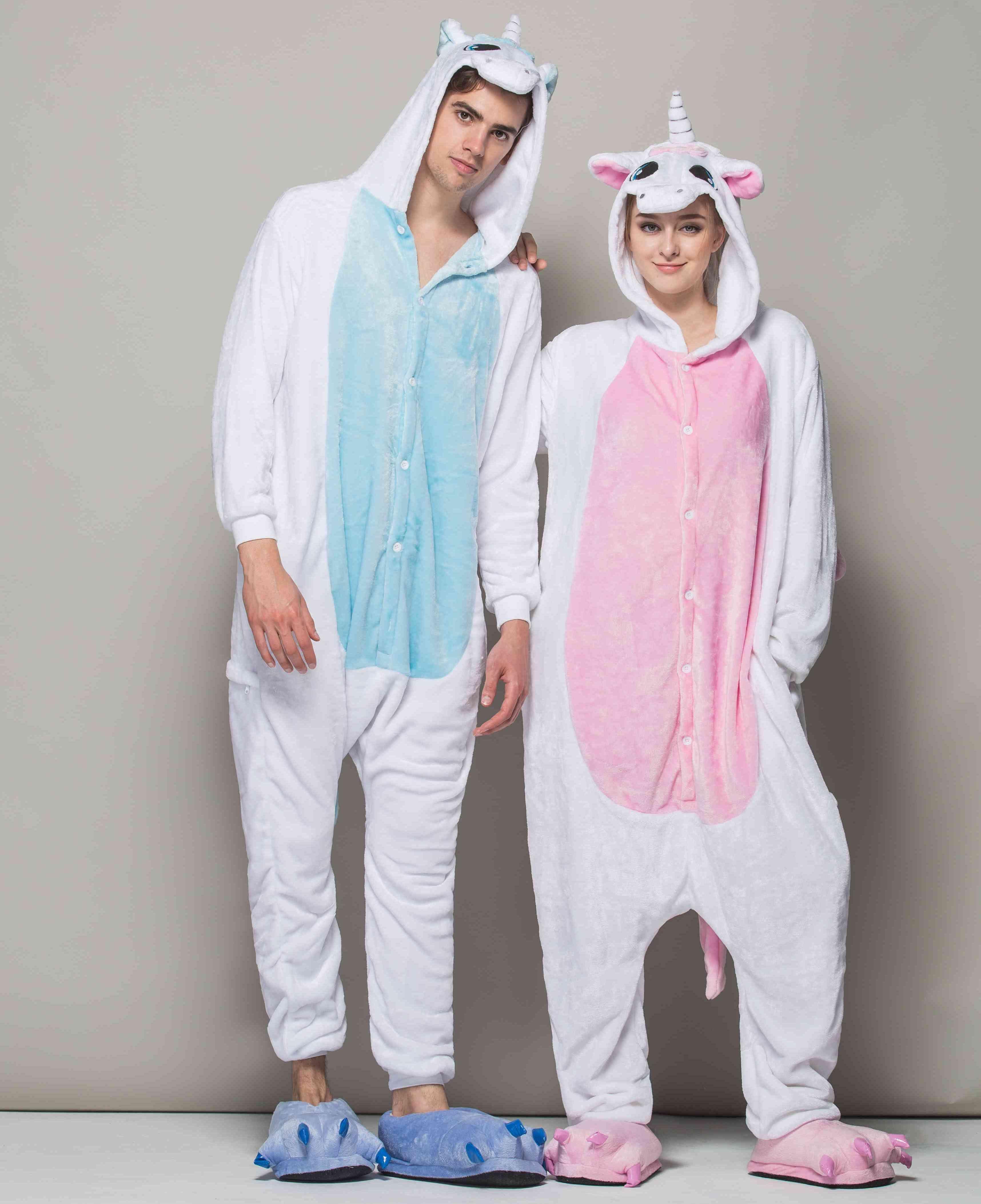 Cartoon Sleep clothes pajama sets Adults women Unicorn flannel Onesies caroset sleepwear Loungewear animal pajamas for adult HML-003