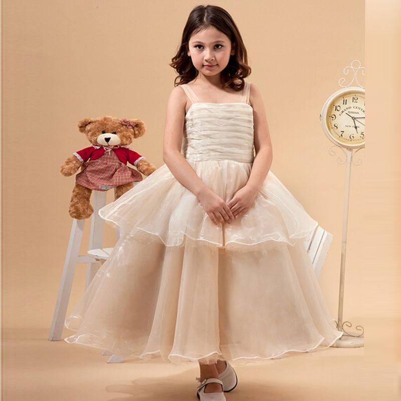 패션 샴페인 꽃 소녀의 드레스 차 길이 우편 번호로 돌아 가기 전문 디자인 무료 배송 아이 볼 가운