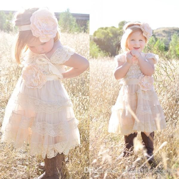 2016 New Ivory Flower Girl Dress Lace Pettidress Vintage Girls Pageant Dresses For Weddings Shabby Chic Rustic Infant Dresses Sale
