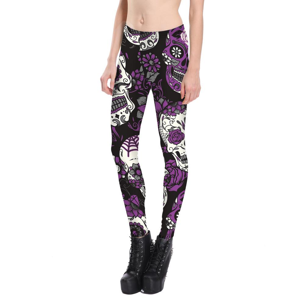 3D Skeleton Printing Sports Pants for Women Autumn Fashion Long Leggings Ladies Knitted Polyester Elasticity Waist Skull Yoga Long Pants