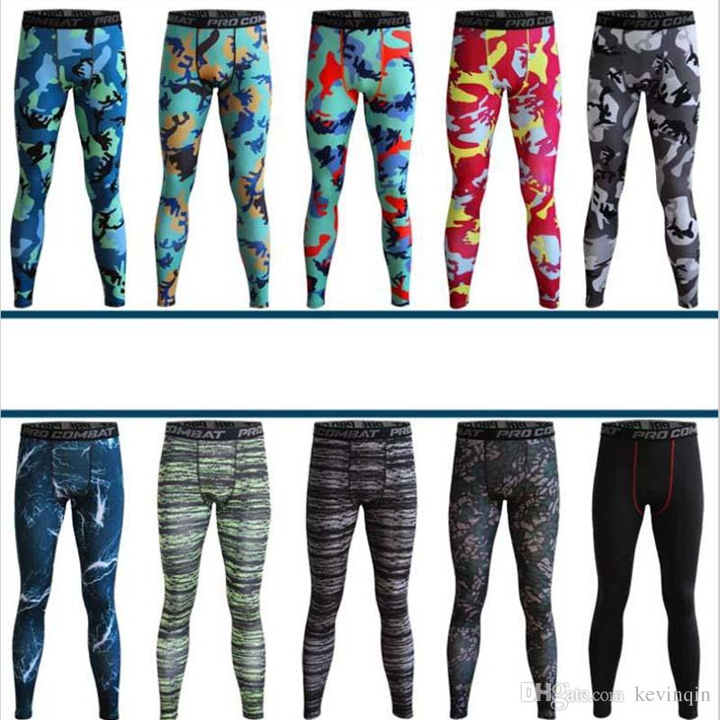 NEUE Ankunft Camouflage Elastische Kompression Enge Männer Sport Gym Pro Combat Basketball Training Laufen Fitness Hosen