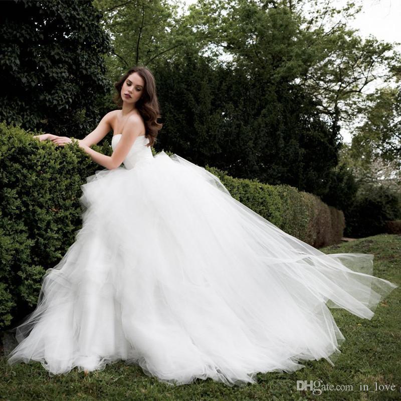 US2 4 6 8 10 12 14 16 18 ++ trägerlosen Ballkleid Brautkleider neue Tüll Rüschen Braut benutzerdefinierte Robe de Mariage moderne heiße W006