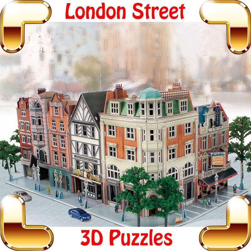 جديد وصول هدية jigscape لندن ستريت 3d لغز نموذج بناء diy مساحات الشوارع تذكارية الحاضر تجميع لعبة اللعب الديكور