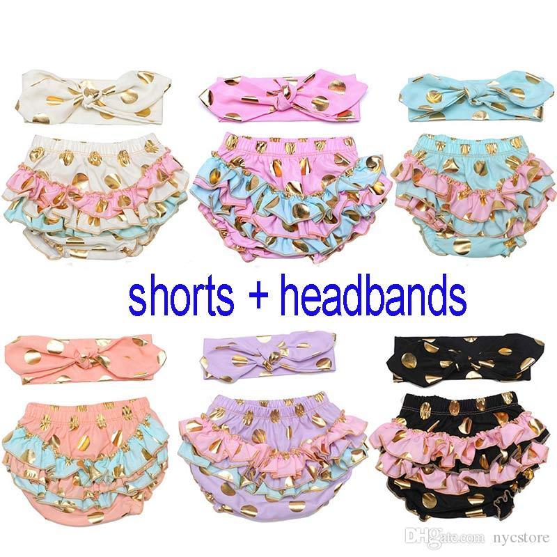 children clothing set INS gold bronzing polka dot bloomers baby shorts+headbands 2 pieces clothing set kids cotton shorts underwear