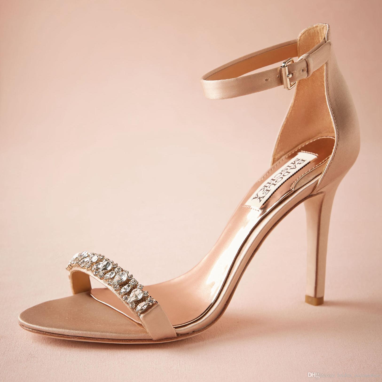 """Mode Blush Chaussures De Mariage 3,5 """"Satin Enveloppé Talons Cristaux Détails Femmes Sandale Old Hollywood Glamour Bijoux Boîte À Talons Made-to-order"""