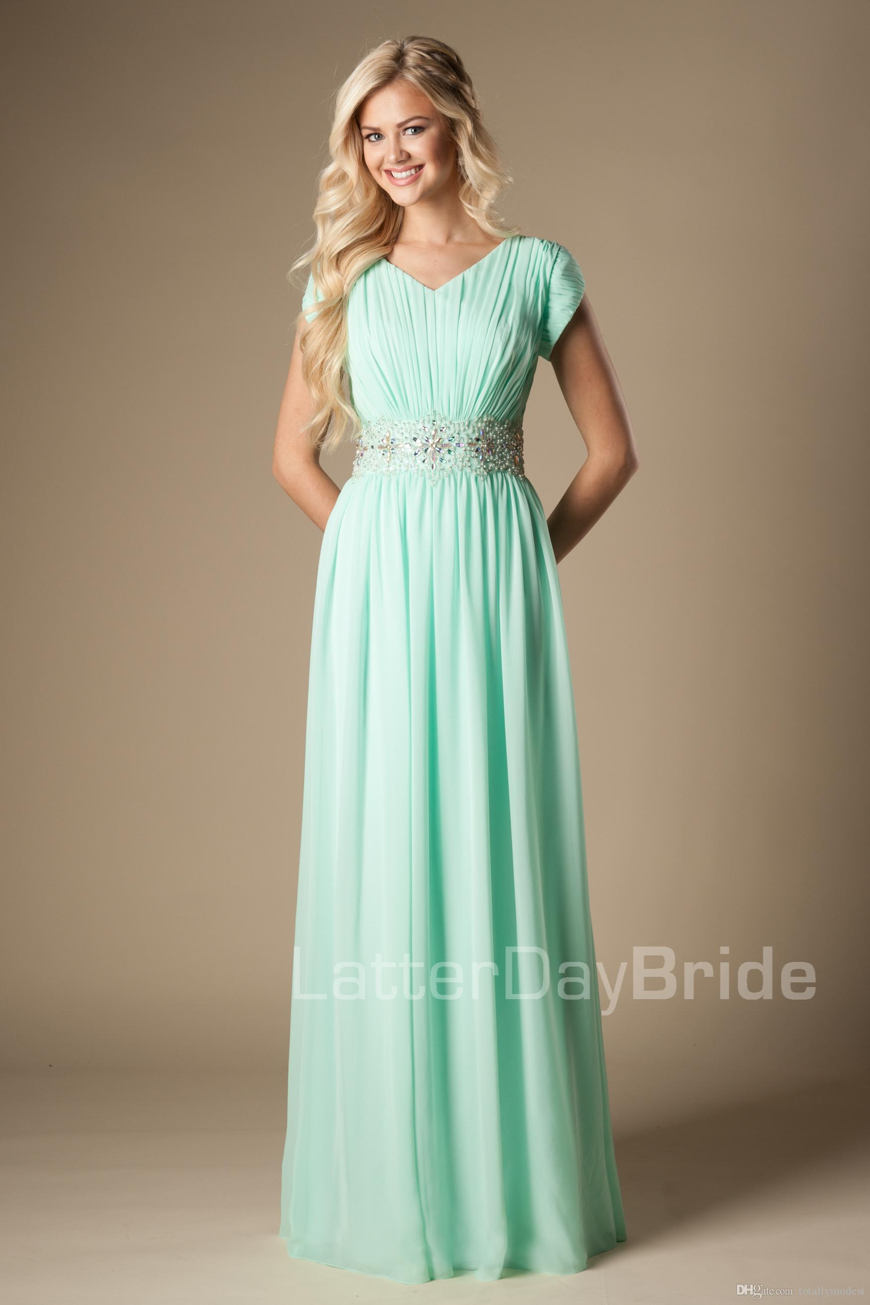 Mint Beaded Chiffon Modest Bridesmaid Dresses With Cap Sleeves Long A-line Wedding Guests Dresses Formal Evening Maids of Honor Dresses