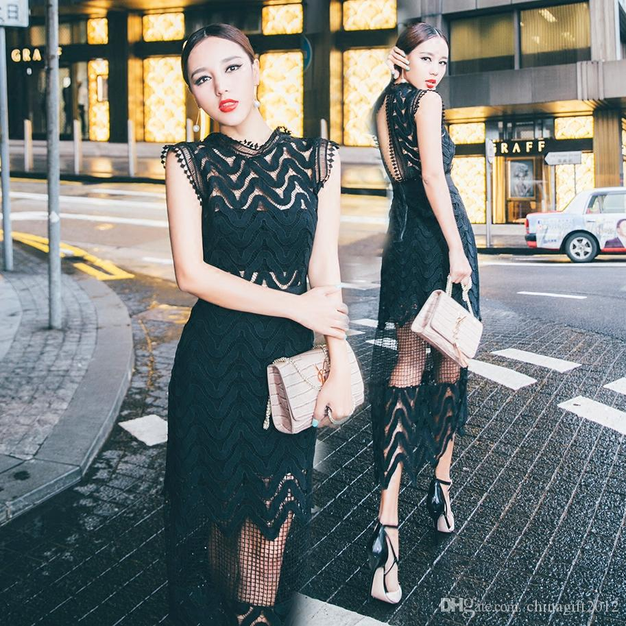 Self Portrait Dress 2016 Elegant Ladies Color Block Open Back Water Soluble Lace Patchwork Pleated Chiffon Spaghetti Strap Mid Calf Dress Canada 2019