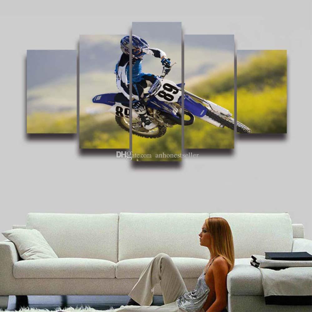 5 панель холст печать Спорт мотокросс гонки Мото живопись Модульная картина для стены искусства домашнего декора гостиной холст HD печать прохладный плакат