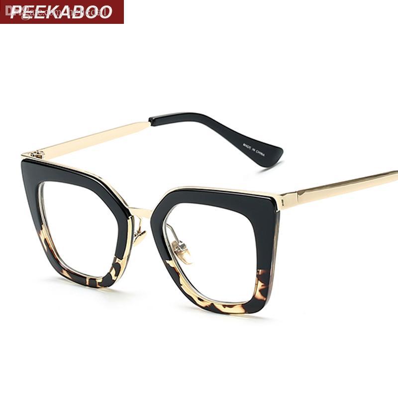 Atacado-Novo 2019 óculos vintage frame óculos quadros gato olho moda meio metal para as mulheres UV400 leopardo preto