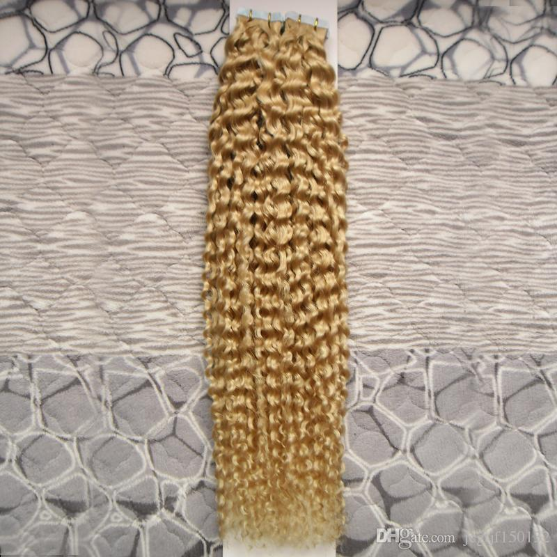 #613 Bleach Blonde Brazilian Virgin Hair Kinky Curly Skin Weft Tape Hair Extensions 100g Tape In Human Hair Extensions 40pcs