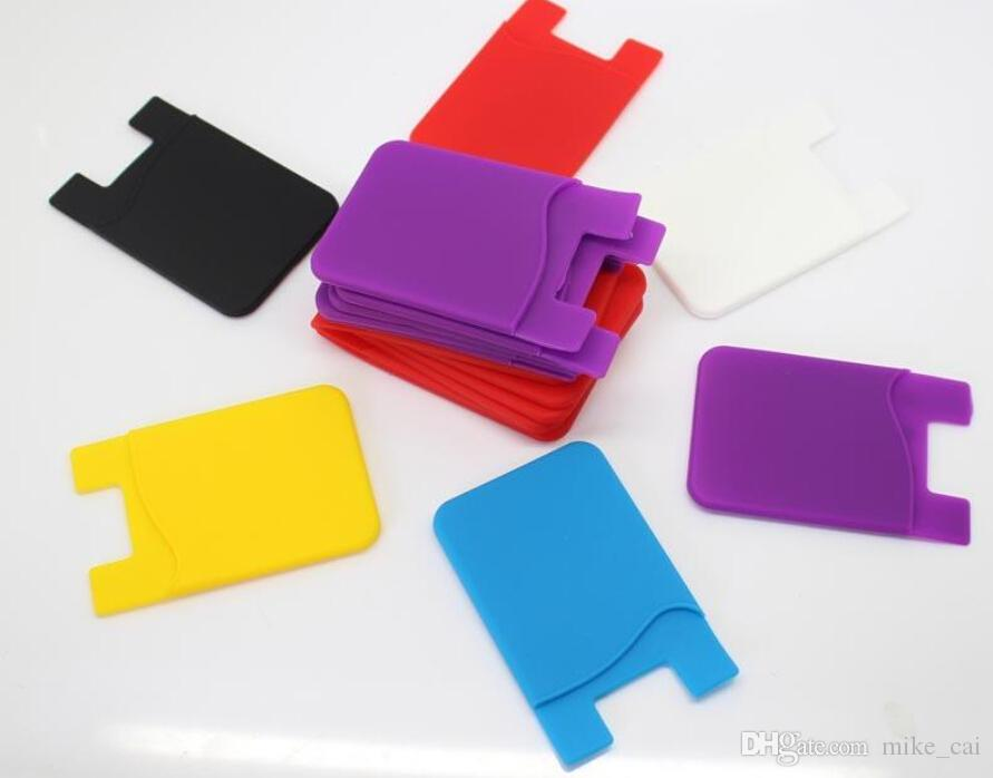 Adhesive Silicone Smart Phone Wallet Credit Card Holder Stick-On Wallet Smart Silicone Cellphone Pouch 3M Sticker Card Holder Bags Factory