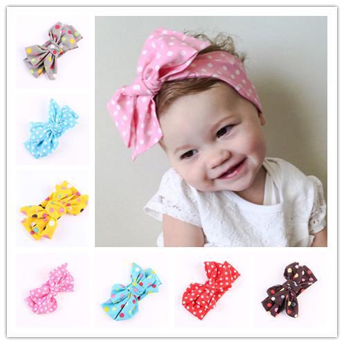 Lindas Niños Bebé Niñas Headwraps Top Nudo Dot Big Arco Diadema Niños Infantes DIY Headwear Turban Muchacha Accesorios para el cabello