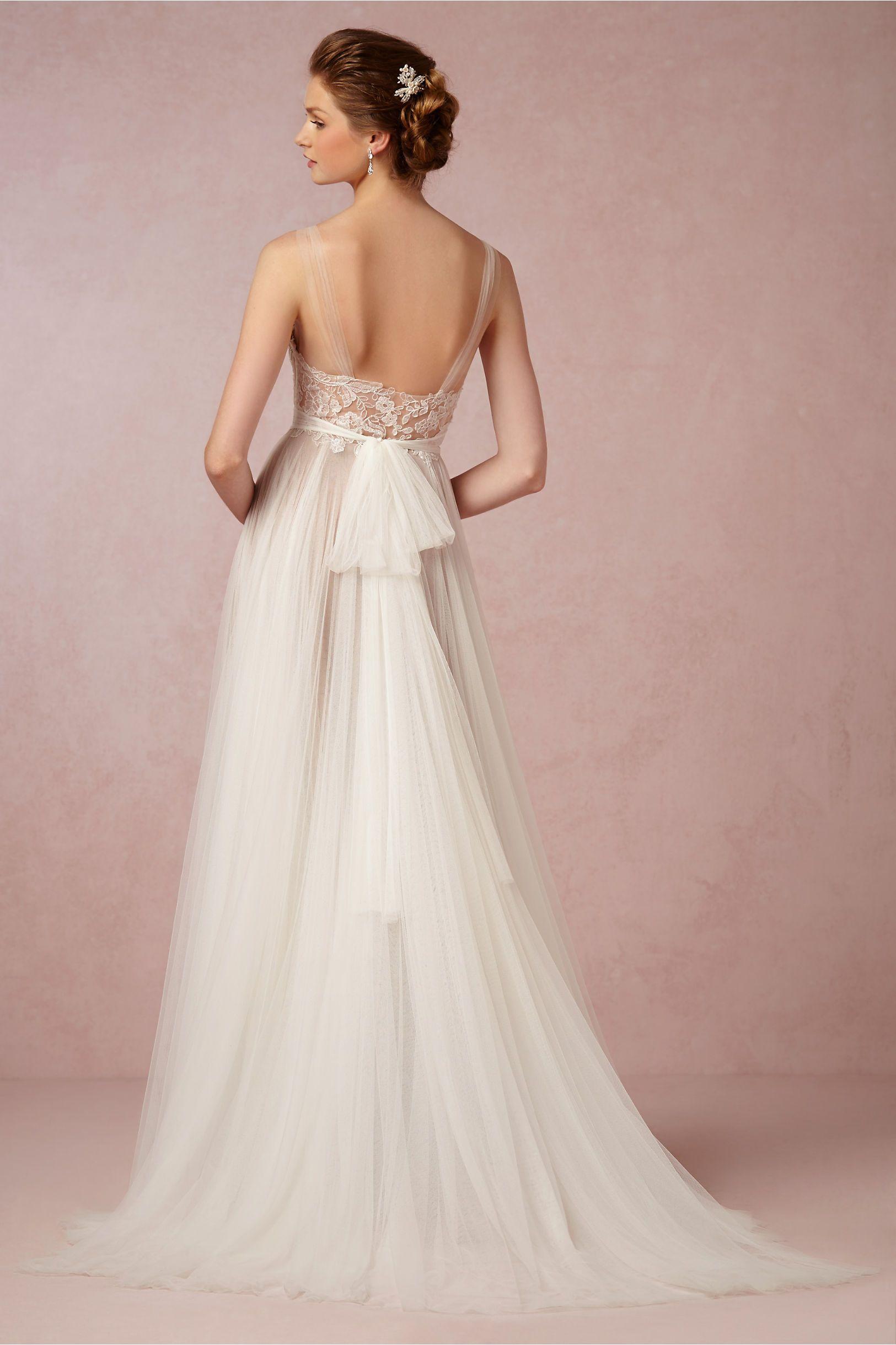 Sheer Neck Simple Tulle Lace Sheath Wedding Dresses Applique ...