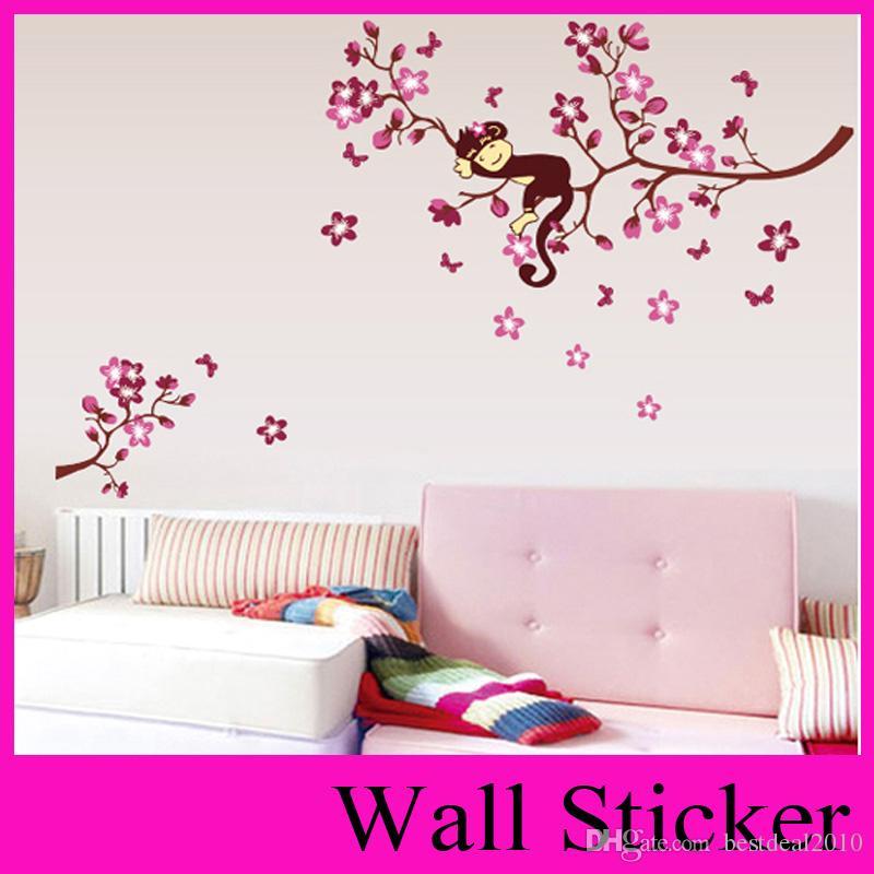 ZY7020 DIY 핑크 분기 동물 원숭이 비닐 벽 스티커 어린이 방에 대 한 소년 소녀 벽 종이 홈 장식 아이 스티커 벽 장식