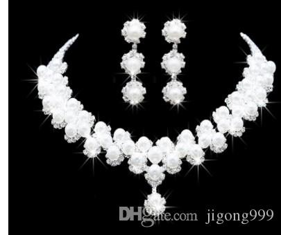 белый цвет Кристалл свадьба невесты леди набор ожерелье серьги hghjhgt
