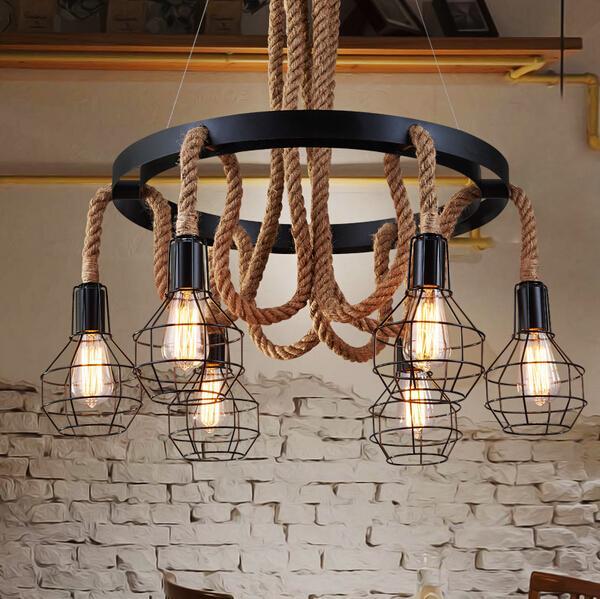 Luxe corde suspendue industrielle lumières edison vintage suspension lampe Restaurant Living bar Light American Style
