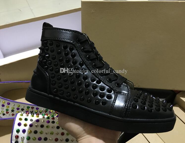 Orijinal Kutusu Kırmızı Alt Sneakers Lüks Parti Düğün Ayakkabı, Tasarımcı Siyah Hakiki Deri Çivili Spike yüksek üst severler eğitmenler Ayakkabı