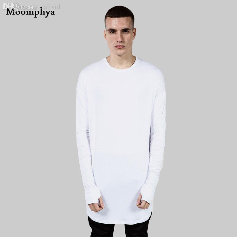 Atacado-Longo estilo Mens Tops T Shirt manga comprida T-Shirt Com Thumb Hole Cuffs T Camisa High Street Desgaste Camisa Curvo Hem swag camiseta