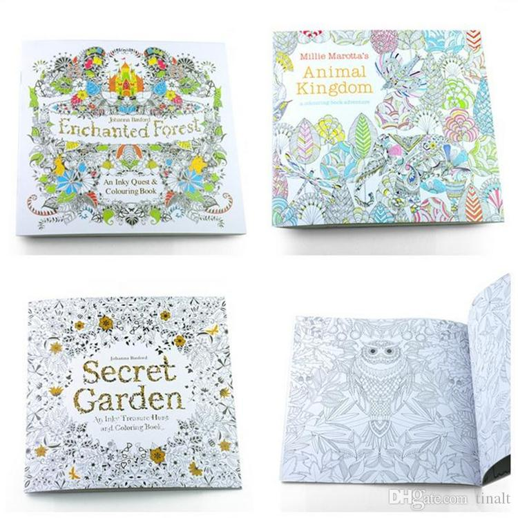 Prettybaby Secret Garden Coloring Book Painting Drawing 24 Pages Animal Kingdom Enchanted Forest Relieve Stress For Children Adult 1677 Christmas