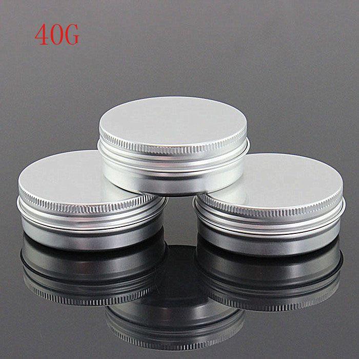 100 STÜCKE 40 gr / ml Leere Aluminiumgläser Nachfüllbare Kosmetische Flasche Salbe Creme Probe Verpackungsbehälter Schraubverschluss