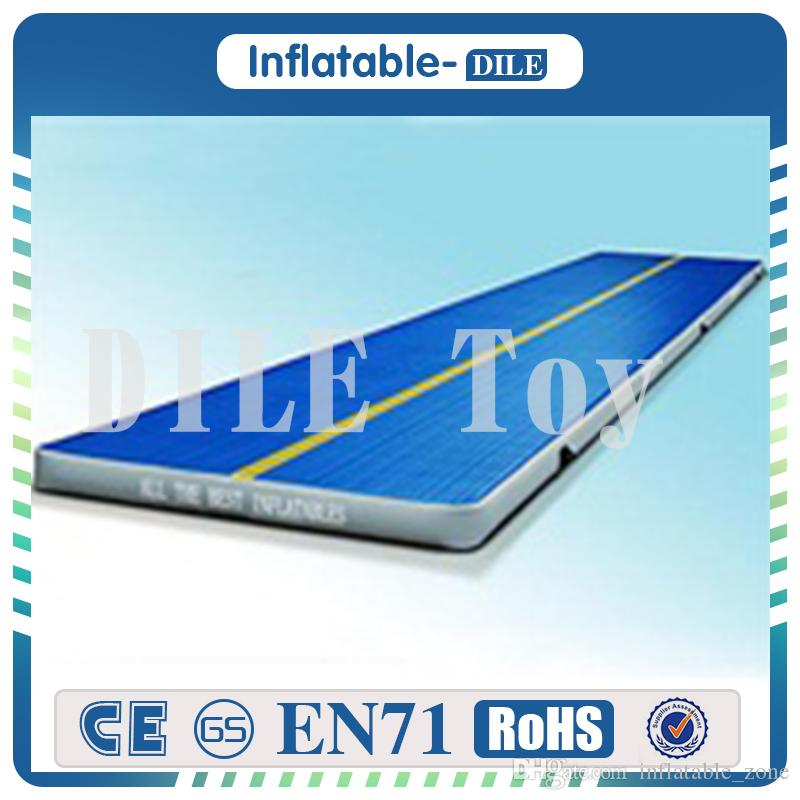Fitness Equipment 12x1x0.2m long Inflatable Air Tumble Track, DWF Blue Inflatable Air Track Mat For Gymnastics