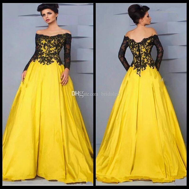 Vestiti da sera eleganti dalla manica lunga gialla per il nuovo tappeto rosso musulmano del taffettà giallo della pista del partito di nuova occasione speciale 2016