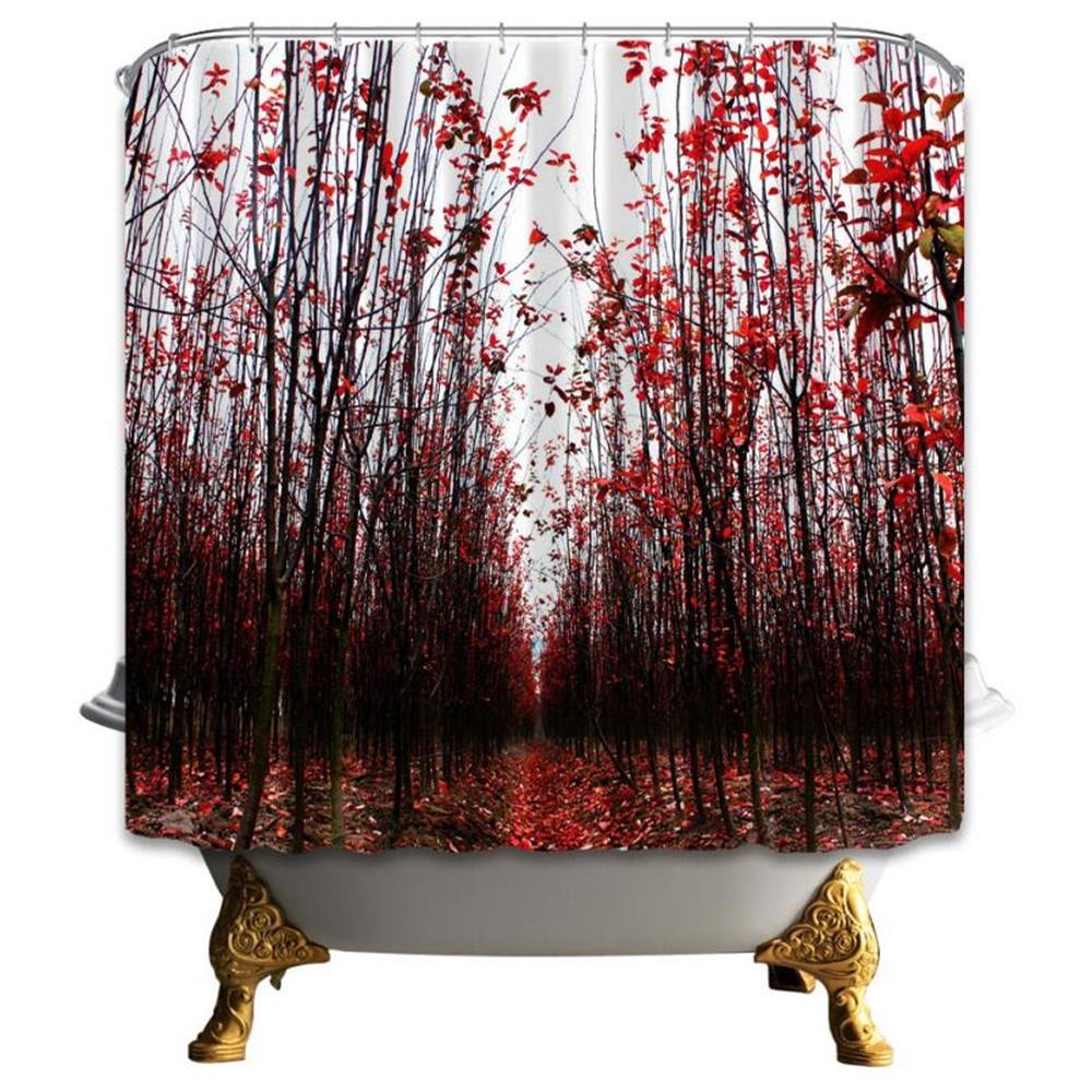 포레스트 샤워 커튼 붉은 잎 풍경 욕실 장식 방수 폴리 에스터 직물 홈 목욕 액세서리 커튼 후크와 함께 69 x 70 인치