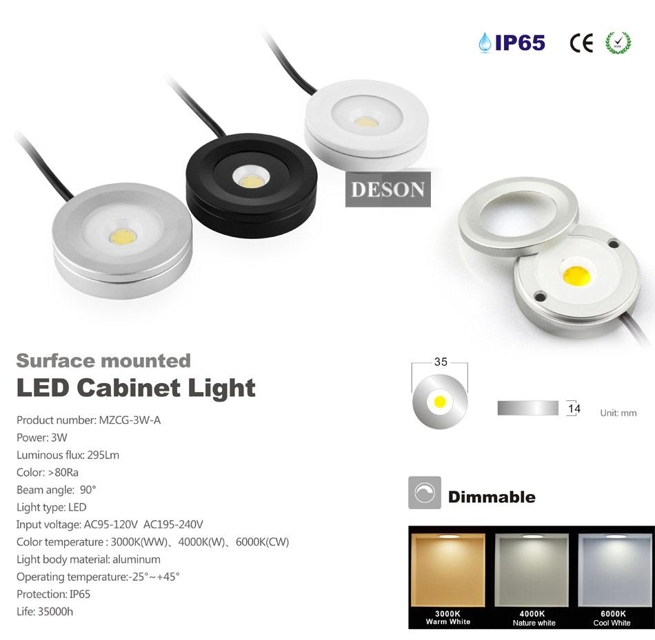 best service f8a52 5cb4b 2019 3W Dimmable LED Under Cabinet Light Puck Light Ultra Bright Warm White  Natural White Cool White Kitchen Lighting AC110V AC220V 4000K DHL From ...