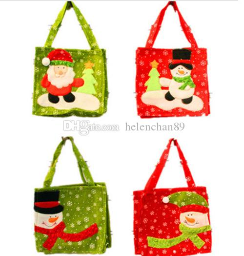 16*16cm Santa Claus Gift Bags Non-woven Christmas Tree Decorations Snowman Candy Bag 2 Colors Random Delivery Drop Shipping 200pcs/lot