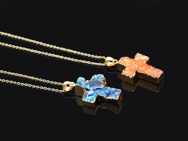 Neue Naturstein Halskette Bunte Kreuz Druzy Kristall Quarz Heilung Edelstein Echten Stein Anhänger Halsketten Achat Amethyst Schmuck Freies DHL