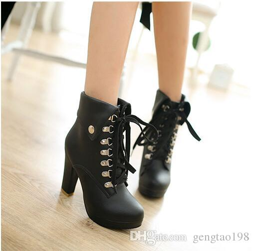 2016 Women Chunky High Heel Ankle Boots Platform Heels for Women Fashion Lace Up Booties Shoes Plus Size High Quality